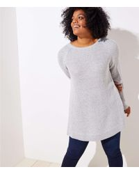 LOFT - Plus Ribbed Crossover Back Sweater - Lyst