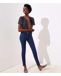 LOFT - Tall Modern Button Cuff Skinny Jeans In Rich Mid Indigo Wash - Lyst
