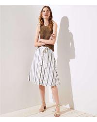 LOFT - Striped Button Down A-line Skirt - Lyst