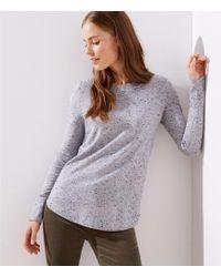 LOFT - Speckled Shirttail Sweater - Lyst