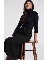 Long Tall Sally Tall Ponte Midi Skirt - Black
