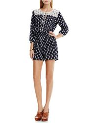 Two By Vince Camuto - Madras Foulard Crinkle Gauze Short Jumpsuit - Lyst