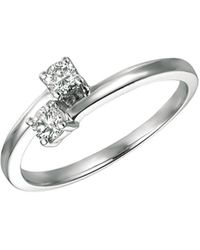 Morris & David   Double Diamond And 14k White Gold Ring, 0.33 Tcw   Lyst