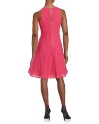 Maggy London - Eyelet Fit-and-flare Dress - Lyst