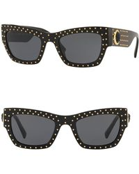 Versace - Rock Icons 52mm Rectangle Sunglasses - Lyst