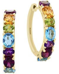 Effy - Mosaic Multi-stone 14k Yellow Gold Hoop Earrings - Lyst