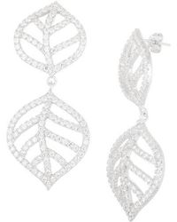 Lord & Taylor - Sterling Silver Open Leaf Pave Earrings - Lyst