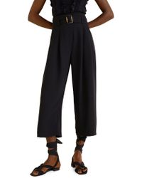Mango - Buckle Cropped Trousers - Lyst