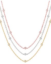 Morris & David - Layered 14k Tricolor Gold Diamond Station Necklace - 1.55 Tcw - Lyst