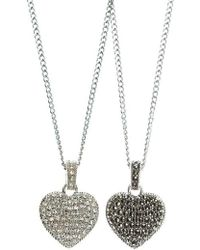 Judith Jack - Sterling Silver And Crystal Reversible Heart Pendant Necklace - Lyst