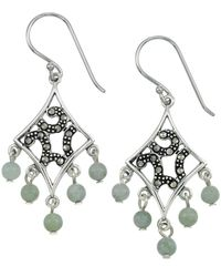 Lord & Taylor - Marcasite And Jade Chandelier Earrings - Lyst