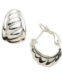 Lord & Taylor - Sterling Silver J-hoop Earrings - Lyst