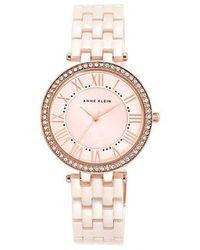 Anne Klein   Pink Ceramic Link Bracelet Watch   Lyst