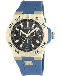 Vince Camuto - Goldtone Stainless Steel Silicone Strap Watch, Vc1010bkgp - Lyst