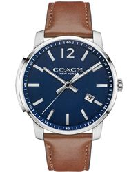 COACH - Bleecker Stainless Steel Plated Leather Strap Watch - Lyst