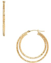 Lord & Taylor - Double Circle Gold Hoop Earrings- 1.22in - Lyst