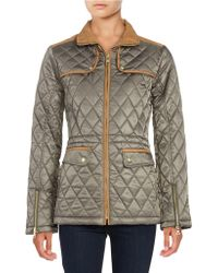 Vince Camuto - Faux Suede-trimmed Quilted Jacket - Lyst