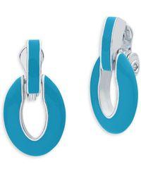 Anne Klein - Dual-tone Link Drop Earrings - Lyst