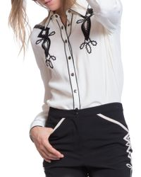 Plenty by Tracy Reese - Long-sleeve Contrast Embroidered Shirt - Lyst
