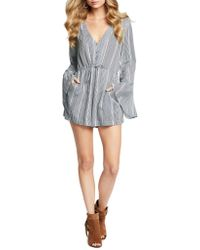 Jessica Simpson - Long Sleeve Striped Short Jumpsuit - Lyst