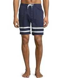 Brooks Brothers Red Fleece - Stripe-accented Swim Trunks - Lyst