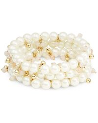 Lauren by Ralph Lauren - Three-piece Stretch Faux Pearl Bracelets - Lyst