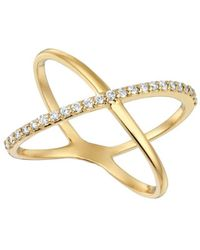 Morris & David - Diamond And 14k Yellow Gold Crossover Ring - Lyst
