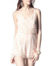 California MoonRise - Crocheted Lace Surplice Romper - Lyst