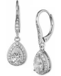Anne Klein - Cubic Zirconia Pear Drop Earrings - Lyst