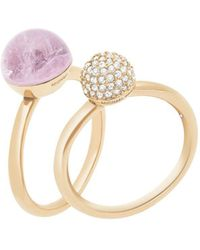 Michael Kors - Gold-tone 2-pc. Set Crystal Fireball And Purple Stone Stack Rings - Lyst