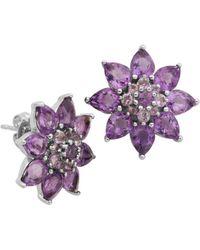 Lord & Taylor - Amethyst Flower Stud Earrings - Lyst