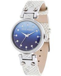 Steve Madden - Crystal, Glass And Leather Watch - Lyst