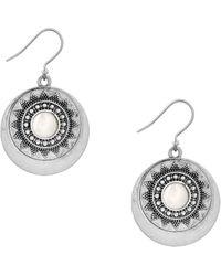 Lucky Brand - Silvertone Freshwater Pearl Circle Drop Earrings - Lyst