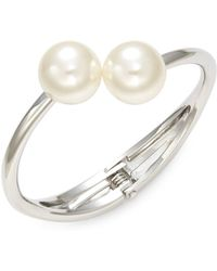 Lord & Taylor - Double Faux Pearl Hinge Bracelet - Lyst