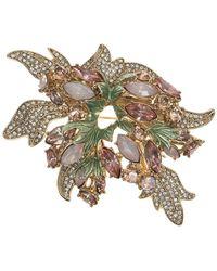 Anne Klein - Epoxy Stone And Crystal Leaf Brooch - Lyst