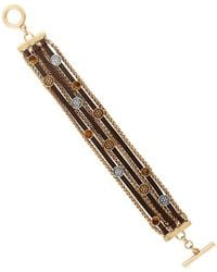 Lucky Brand - Leather Beaded Two-tone Bracelet - Lyst
