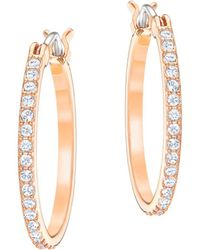 Swarovski - 18k Rose Goldplated Hoop Earrings - Lyst