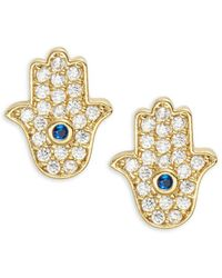 Tai - Pave Hamsa Stud Earrings - Lyst