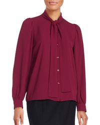 Lord & Taylor - Crepe Tie-neck Blouse - Lyst