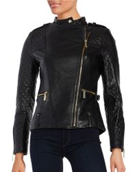 Vince Camuto - Leather Front Zip Moto Jacket - Lyst