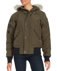 Sorel - Hooded Faille Caribou Bomber Jacket - Lyst