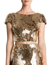 Dress the Population - Gigi Sequin Cropped Top - Lyst