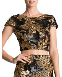 Dress the Population - Gigi Leaf Sequin Cropped Top - Lyst