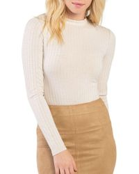 Kensie - Ribbed Mockneck Back Cutout Long Sleeve Bodysuit - Lyst