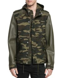Lamarque - Taylor Fishtail Leather Sleeve Camo Jacket - Lyst