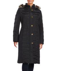 Anne Klein | Faux Fur-trimmed Hooded Puffer Coat | Lyst