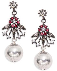 Gerard Yosca - Floral And Ball Accented Drop Earrings - Lyst