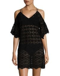Amita Naithani - Cold Shoulder Open Knit Swim Dress - Lyst