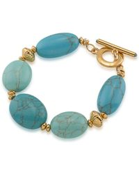 Lauren by Ralph Lauren - Paradise Found Reconstituted Turquoise 14k Goldplated Bracelet - Lyst