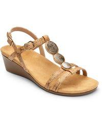 Vionic - Noleen Metallic Cork Wedged Sandals - Lyst